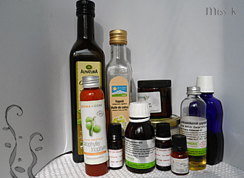 Öl Auswahl für Kosmetika
